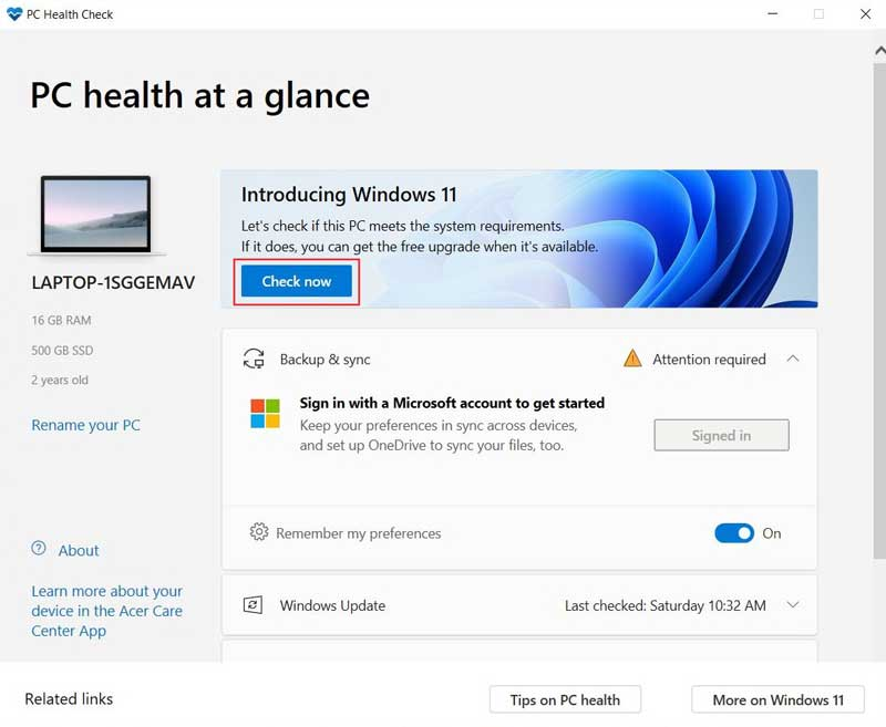 check if your pc meets windows 11 system requirements